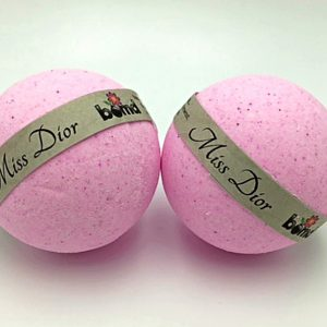 Hand Made All Natural Luxury Miss Dior Bath Bomb embed with White