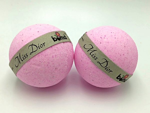 Handcrafted  All Natural Luxury Miss Dior Bath Bomb embed with White